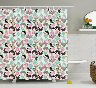 Kids and Cats with Wings Shower Curtain