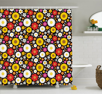 Spring Theme Daisies Shower Curtain