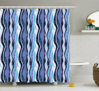 Wavy Fantasy Line Leaves Shower Curtain