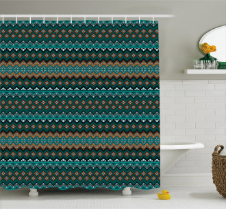 Triangles Zigzags Native Shower Curtain