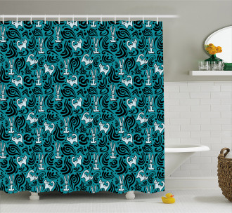 Abstract Cat Bunny Shower Curtain