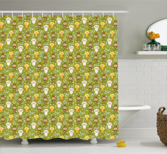 Sheep Rabbits and Chicken Shower Curtain