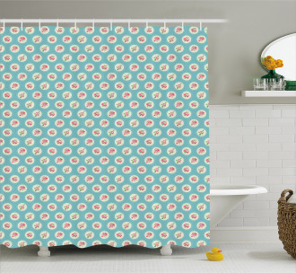 Circles and Flowers Shower Curtain