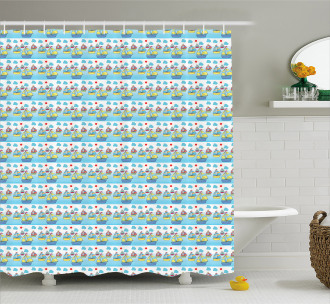 Sailing Boats of Summer Shower Curtain