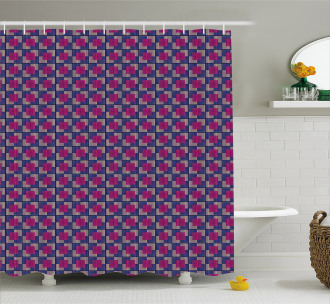Blue Toned Squares Shower Curtain