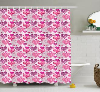 Symbols of Love Design Shower Curtain