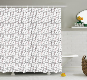 Doodle Style House Cats Shower Curtain