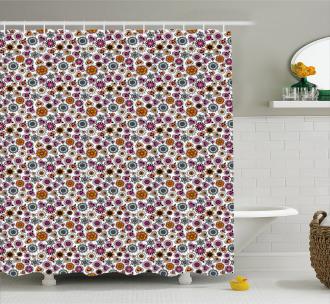 Colorful Romantic Motifs Shower Curtain