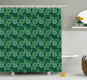 Green Dotted Pattern Shower Curtain