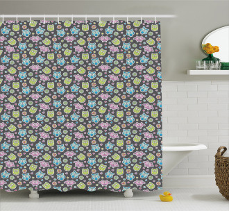 Flowers and Hearts Shape Shower Curtain