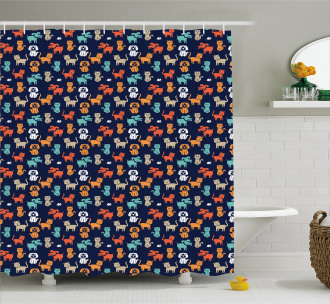 Cat Dog and Mouse Shower Curtain