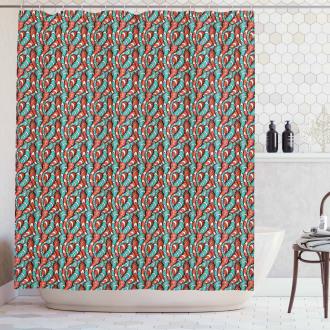 Wavy Lines Grunge Shower Curtain