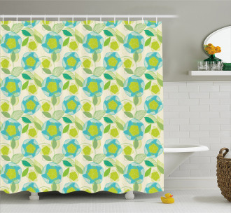 Blooming Foliage Leaves Shower Curtain