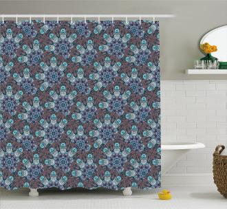 Swirls and Spirals Motif Shower Curtain