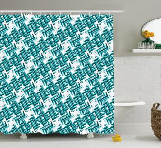Retro Maze Trippy Shower Curtain