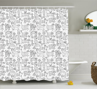 Cute Kittens Pattern Shower Curtain