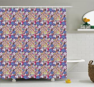 Colorful Mehndi Motifs Shower Curtain