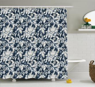 Oriental Eastern Flowers Shower Curtain