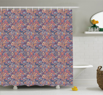 Colorful Blooms Curls Shower Curtain