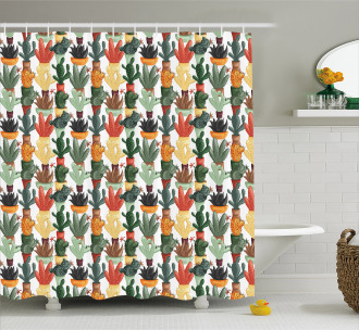 Mexican Succulent Plant Shower Curtain