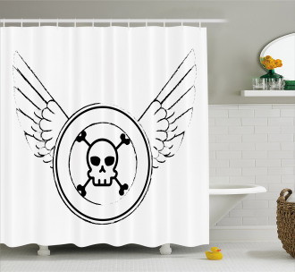 Grungy Stamp with Wings Shower Curtain