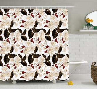 Chinese Plum Pattern Shower Curtain