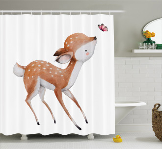 Young Deer and Butterfly Shower Curtain