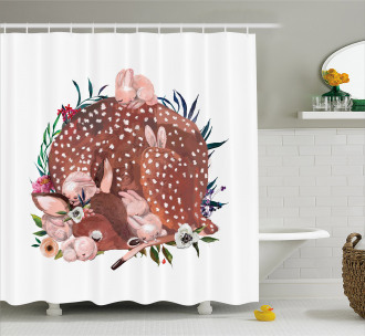 Deer with Hares in Forest Shower Curtain