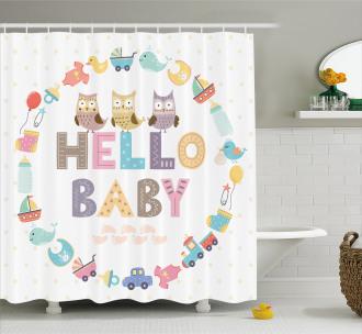 Hello Baby Owls Shower Curtain