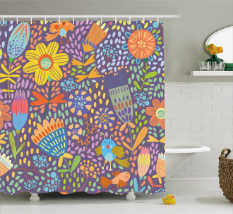 Flowers and Birds Shower Curtain