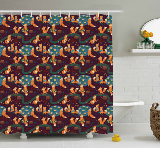 Small Forest Animals Pond Shower Curtain