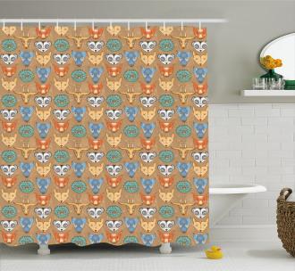 Forest Fauna Pattern Shower Curtain