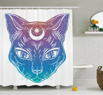 Cat Head Moon and Star Shower Curtain