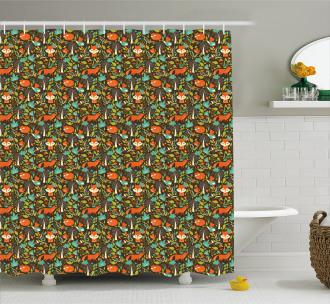 Autumn Season Flora Fauna Shower Curtain