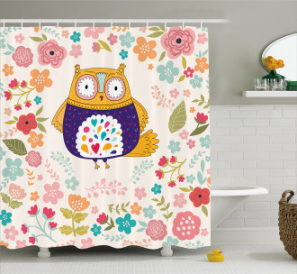 Colorful Bird and Flowers Shower Curtain