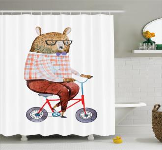 Urban Bear on Bicycle Shower Curtain