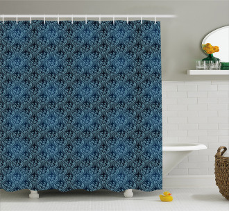 Blue Ornate Flourish Shower Curtain
