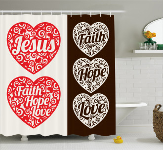Hearts Swirls and Curves Shower Curtain