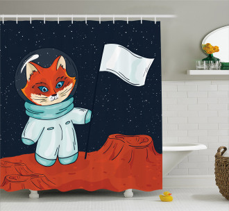 Fox Cosmonaut Space Shower Curtain