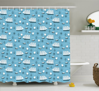 Ships Boats and Helms Shower Curtain