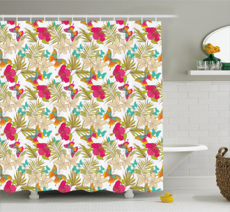 Tropical Flowers Leaves Shower Curtain
