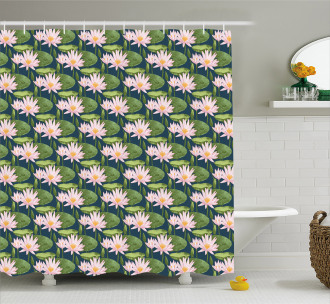 Pink Blooms on Pond Shower Curtain