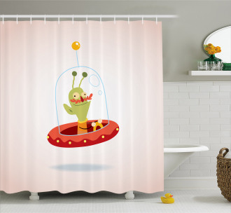 Cute Alien Character Shower Curtain