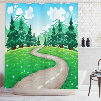 Pathway among Pine Trees Shower Curtain