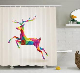 Colorful Fractal Deer Shower Curtain