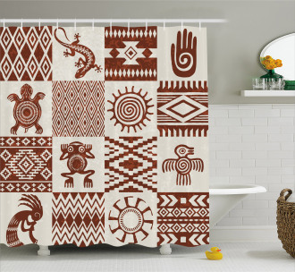 Grunge Native Tile Shower Curtain