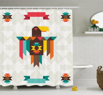 Folk Totem Eagle Shower Curtain