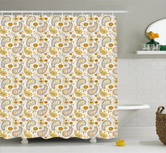 Boho Ornate Sunflowers Shower Curtain