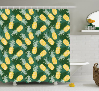Palm Leaves Pineapples Shower Curtain