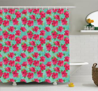 Botanical Hibiscus Shower Curtain
